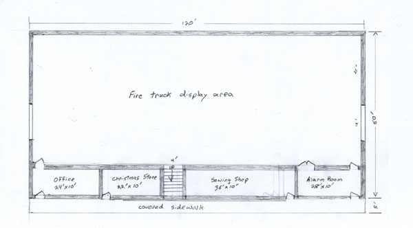Sketch of Fire Truck Building