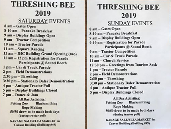 Threshing Bee Events